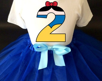 Birthday Princess Snow White Blue red yellow 2nd Two Second Shirt & Tutu Set Girl Outfit Party Toddler Headband Custom Size Cake Smash