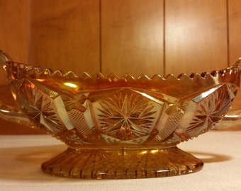 Vintage Marigold Star and File Imperial Glass Iridescent Carnival Glass Footed Oblong Handled Bowl