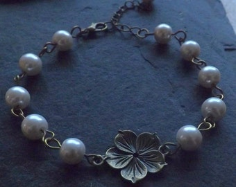 Vintage Inspired Bridal Wedding Ivory Pearls Flower Bracelet Bride Bridesmaid Antique Bronze