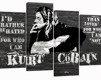 Kurt Cobain/set of 4 canvas prints stretched on wooden bars