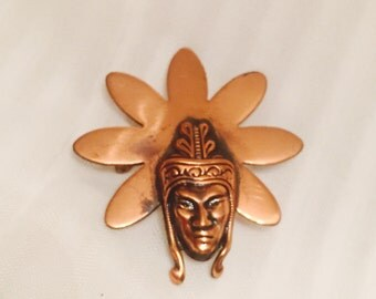 Copper African Male Head with Headdress  #26