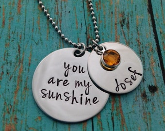 You are my sunshine Disc Necklace with Name Disc and Swarovski Crystal Birthstones