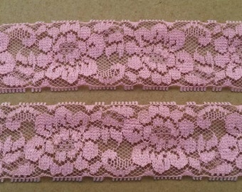 2 Yards PINK Lace Trim Flower Venise Lace Trim 1.25 Inches Wide