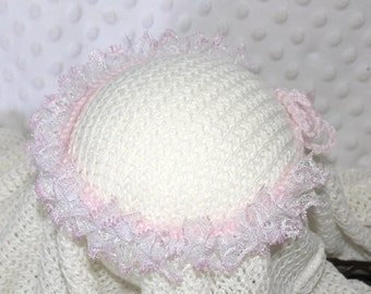 Newborn Baby to Adult Knitted Opalescent White/Pink Lace Tieback