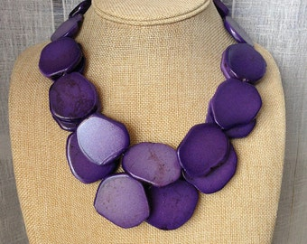 Purple Turquoise Stone Necklace Double Strands Stone Heavy Bib Statement Necklace