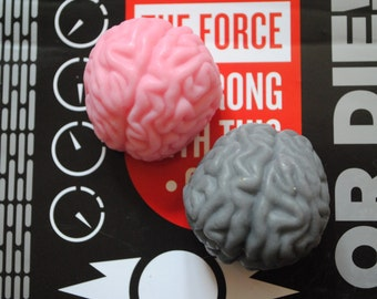 3 x Brain Soaps  - zombie, brain, party favor, halloween, doctor - birthday gift