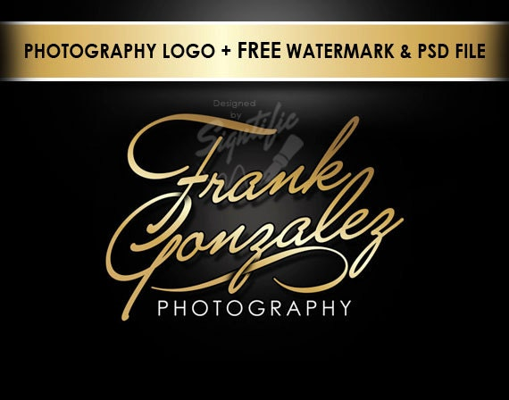 Elegant photography logo, free watermark and PSD source file, photographer logo, photograph watermark, gold lettering photography logo