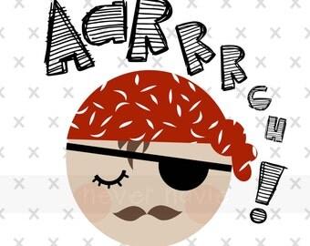 Cute Pirate Art Print- Instant Digital Download- Kids Art / Kids Room