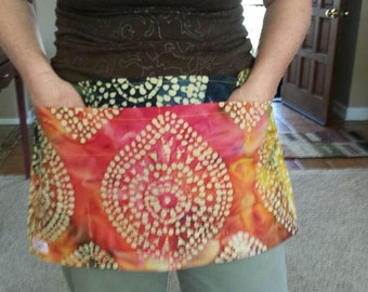 Task Apron | Teacher, Doula, Waitress, Waiter, and more!  Extra pockets to keep all your working items handy | Batik