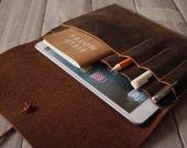 Leather iPad Mini Case Portfolio Sleeve / Passport Covers / Notebooks Sleeve / Leather Pen Case - Super US Distressed Brown Leather
