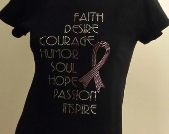 Breast Cancer Awareness Ribbon Fearless Rhinestone Bling Women's Fitted or Standard T Shirt Tee