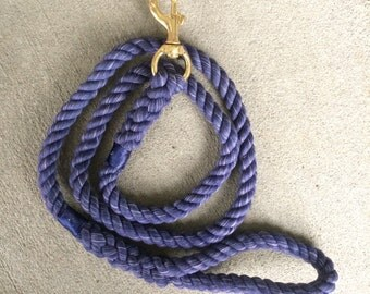 Rope Leash--Cotton--NAVY BLUE
