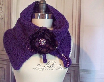 Violet Purple Neckwarmer Cowl Crochet Scarf Infinity Scarf Split Cowl With Hand Beaded Flower Brooch And Accents ALS Scarf Scarflet