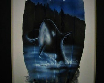 Orca Whale - Russ Abbott Original Hand Painted Three Feather