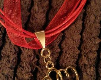 Handmade heart ribbon/cord  necklace.
