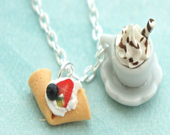 crepe and hot chocolate necklace - miniature food jewelry, hot cocoa, japanese crepe