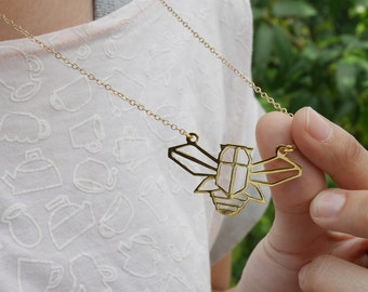 Cicada Necklace, Origami Necklace, Insect Necklace, Geometric Necklace, Nature Necklace, Bug jewelry, Birthday gifts, Insect gifts