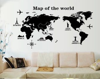 World map wall decal etsy removable world map wall decals two birds vinyl wall decals butterfly decal wall decals wall stickers gumiabroncs Choice Image
