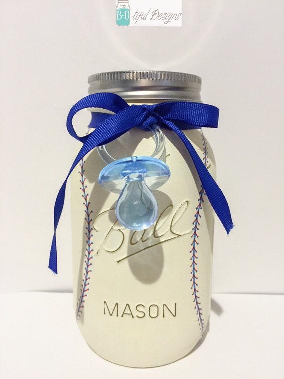baby shower mason jar centerpiece decor baseball boy nursery decor