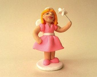 Girl in Fairy Costume, Polymer Clay Figure, Girl Figurine, Fairy Ornament, Miniature Figure, Fairy Costume, Fancy Dress Costume