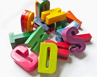 Chunky crayon letters