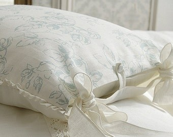 Luxury French Country pillow case 'Delphine' - Shabby chic pure linen pillow - 6 sizes available - euro sham duckegg color