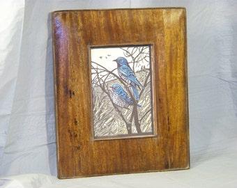Woodcut & Ink look, Bluebirds in Bush. Framed Greeting Card..