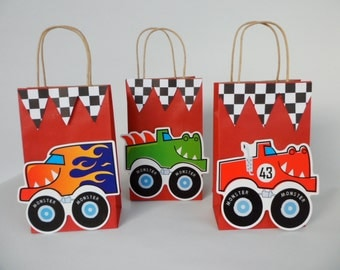 Monster Truck Party Favor. Birthday Party ..Goodie Bag...SET OF 5.