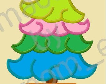 Whispy Christmas Tree Applique