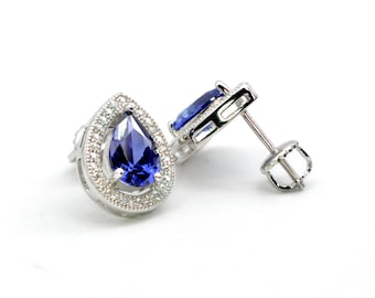 Pear Shape Tanzanite Earrings With White Sapphires Accent