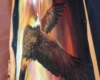 """Painting on leather """"Flight of the Eagle"""""""