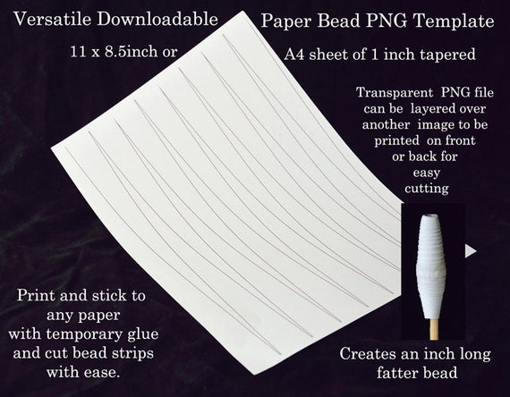 Paper bead templates 1 inch tapered beads uk a4 us letter for Letter paper size in inches