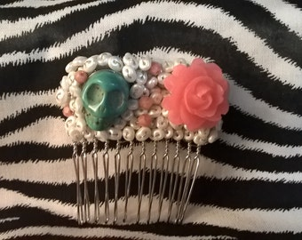 Turquoise and Coral Skull Hair Comb with Flower