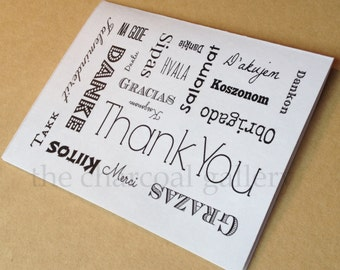 Instant Download- Digital Card- Printable Thank You Card (Blank)- Multi-lingual - 4.25 x 5.5 inches- Different Languages Thank You Card