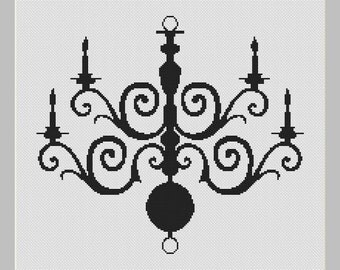 Chandelier Silhouette Cross Stitch Pattern in PDF for Instant Download