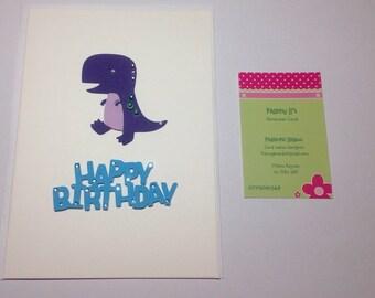 Handmade Dino Birthday greetings card