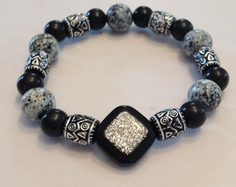 Black and Silver Beaded bracelet.