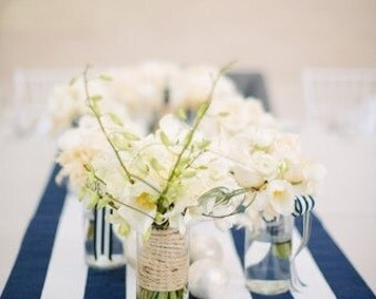 navy and white stripe table runners