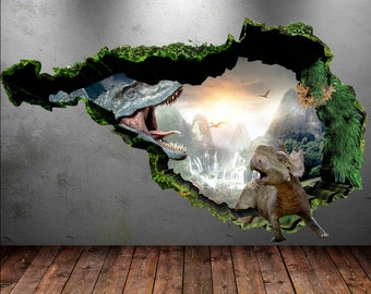 Dinosaur Wallpaper Etsy - 3d dinosaur wall decalsd dinosaur wall stickers for kids bedrooms jurassic world wall