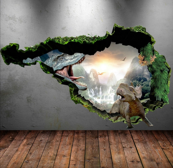 dinosaur wall decal wall stickers full colour 3d dinosaur. Black Bedroom Furniture Sets. Home Design Ideas