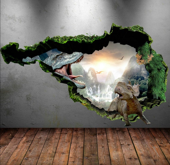 Dinosaur wall decal wall stickers full colour 3d dinosaur for Dinosaur mural ideas