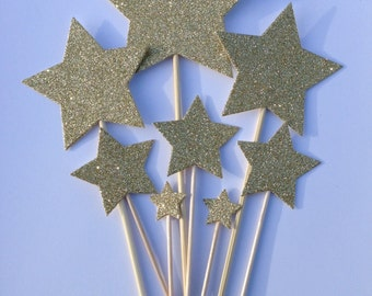 Gold Star Cake Toppers, Gold Glitter Star Cake Toppers, Birthday Cake Toppers, Assortment Pack