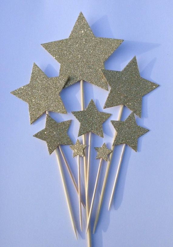 Gold Star Cake Toppers Gold Glitter Star Cake Toppers