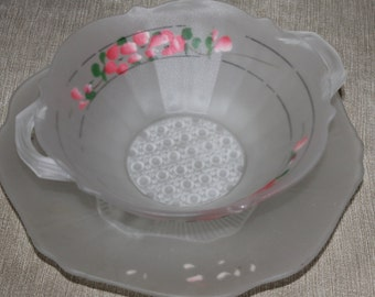 Vintage Decortaive Serving Dish with Plate Stand w 3 feet, Home Decoration, Collectible, Frosted Glass Flower Decoration