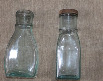 Vintage Green Tint Bottles or Jars - One with Original Lid - One Without - Squarish and Ovilish - No Markings Fantastic Condition