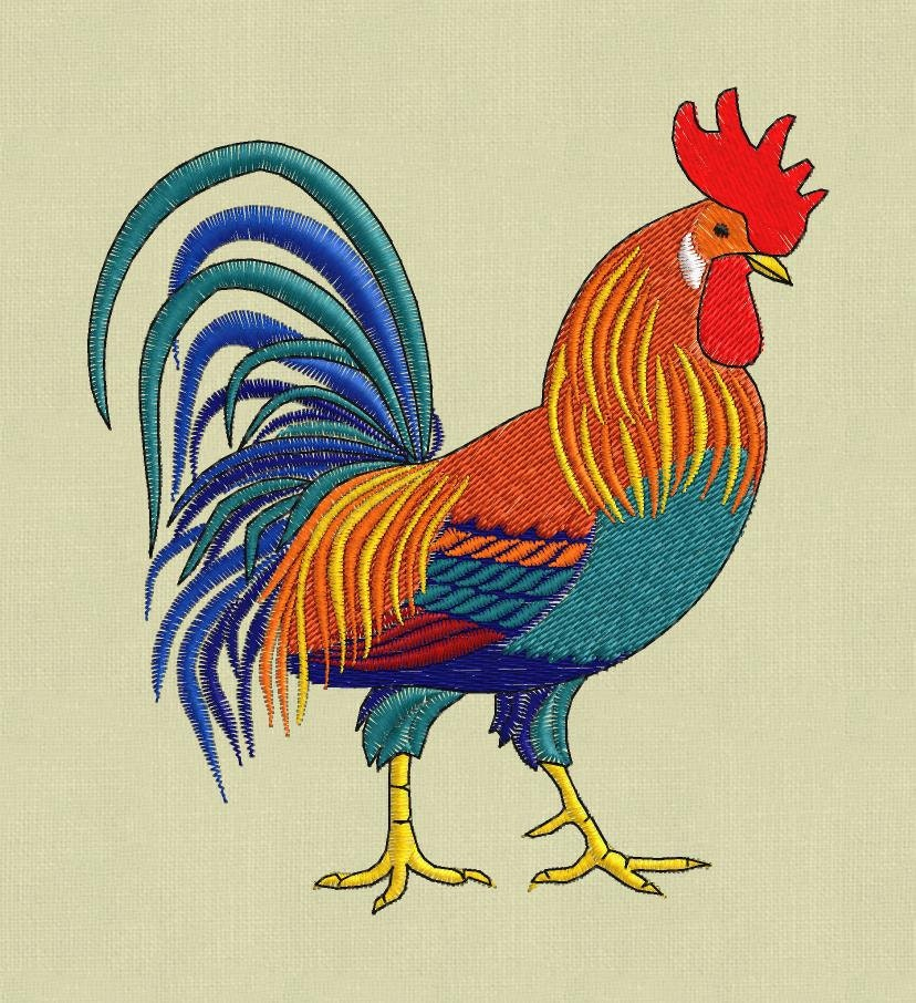 Embroidery design rooster cock chicken 5x7 pes hus jef in zip - Cock designing ...