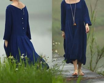 SALE Blue Textured loose comfy dress BonLife