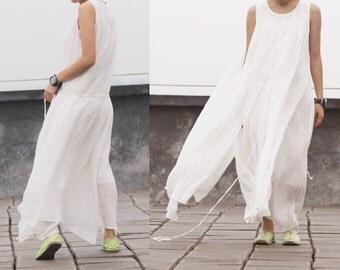 White ramie layered embroidery tank dress sundress BonLife