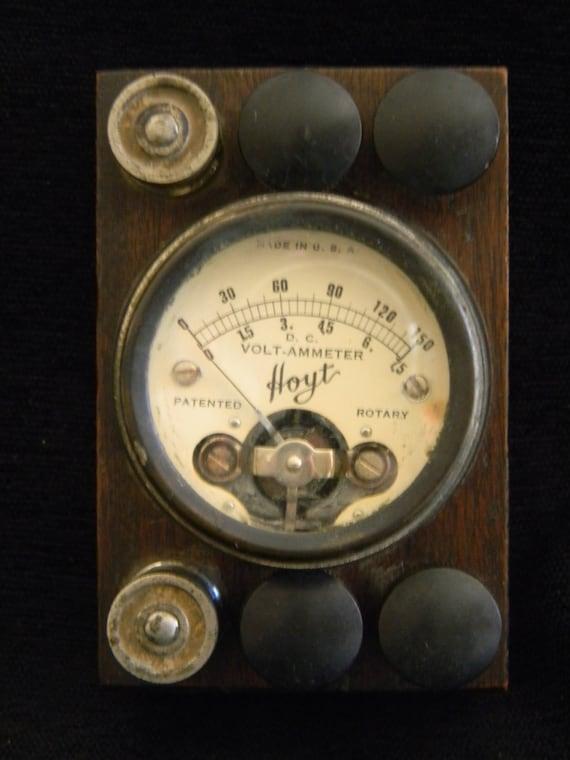 Vintage Electrical Measuring Instruments : Antique hoyt volt ammeter rotary wood case electrical