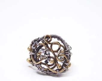 Tempus - exceptional handmade wire wrapped adjustable ring from fine silver and brass wire, wire wrapping, wire wrap